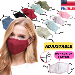 Adjustable Face Mask Cotton Triple Layer Reusable Washable USA SAMEDAY SHIPPING $11.49