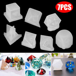 7Pcs DIY Crystal Epoxy Mold Dice Shape Digital Game Silicone Triangle Mould Set $11.48