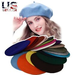 New Warm French Style Lightweight Casual Classic Beanie Solid Color Wool Beret $7.99