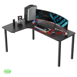 Eureka 60 Inch Computer Gaming Desk L Shaped Home Office Multi Function Black $219.00