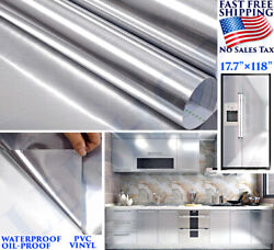 STAINLESS STEEL SILVER CONTACT PAPER VINYL SELF ADHESIVE FILM KITCHEN COUNTERTOP $17.53