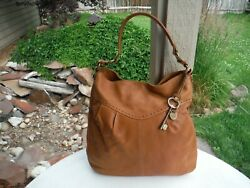 Fossil Handcrafted Tan Leather Riveted Tote Purse Shopper Bag #75082  14 x 14