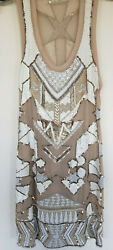 Stunning All Saints Newaz White Embellished Silk Summer Mini Dress Size 10 $45.02