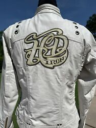 Harley Davidson Women MAGNOLIA White Leather Jacket Small HD Iron MINT $199.98