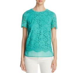 Finity Womens Green Frayed Hem Lace Overlay Short Sleeves Casual Top 4 BHFO 8163 $22.50