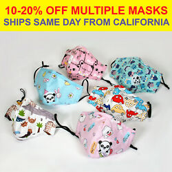 Kids Child Toddler Reusable Cloth Face Mask with Pocket Valve 2 PM2.5 Filters $6.75