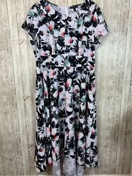 Women's Lane Bryant Black & White Floral Short-Sleeve High-Low Stretch Dress 20 $24.99