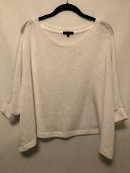 New! Medium Beyond Yoga White Knit Dolman Top Oversized Casual Cropped $28.99