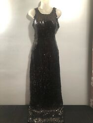 Womens Nadine Sequin Long Formal Prom Dress Black Size 7 Strap Sleeves $12.50