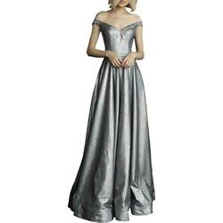 Jovani Silver Off-The-Shoulder Prom Iridescent Formal Dress Gown 6 BHFO 1168 $51.92