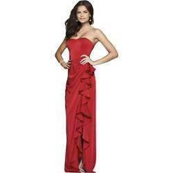 Faviana Womens Red Satin Prom Formal Evening Dress Gown 6 BHFO 3139 $60.99