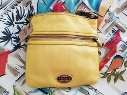 Fossil Crossbody Messenger Handbag Soft Yellow Leather NWT $44.99