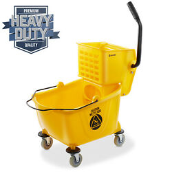 OPEN BOX - 26 Quart Commercial Mop Bucket with Side Press Wringer Yellow $26.00