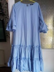 Preowened ladies plus summer Blue Sleeved dress Maxi GBP 19.99