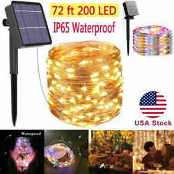 72ft 200 LED Outdoor Solar String Lights Copper Wire Fairy Lamp Waterproof Decor