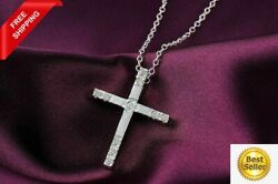 New Women's Necklace 925 Sterling Silver Plated Cross Fashion Pendant Jewelry $13.99