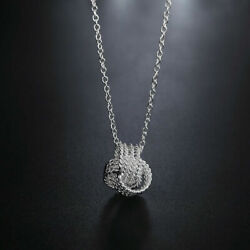 New Women's Necklace 925 Sterling Silver Plated Ball Fashion Pendant Jewelry $10.99