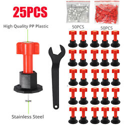 25x Flat Ceramic Floor Wall Construction Tool Reusable Tile Leveling System Kit $20.99