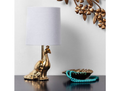Table lamp small gold peacock 12quot; night light home decor lighting ceramic brass $16.96
