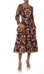 Rhode Resort Suzani Cold Shoulder Floral Burgundy Orange Maxi Flare Dress Medium $149.99