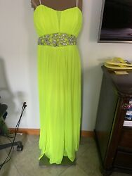 CITY TRIANGLES neon green mesh bead dress Bridesmaid Prom gown strapless 13 NEW