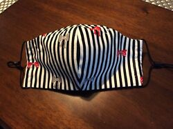 """Stripes amp; Bows"" Fabric Face Mask Adjustable Nose amp; Ear for Custom Fit $9.99"