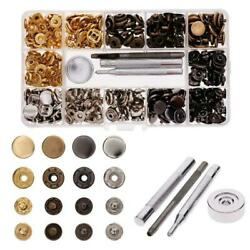 100Pcs Metal Snap Fastener Button Leather Tool Kit For Shirts Jeans Jackets USA $13.89