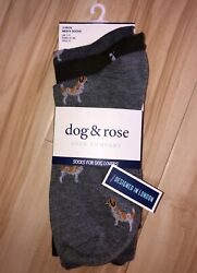 Dog amp; Rose 3 pack Size 8 12 Socks for Dog Lovers Jack Russel Pug Huskie $14.99