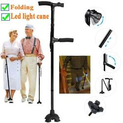 Folding Hurry Cane All-Terrain Pivoting Base Walking Stick Cane with LED Light $15.94