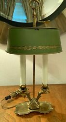 Magnificent High Quality Brass Swan Bouillotte Lamp - Green Adjustable Shade $340.00