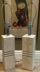 Pair Mid Century Modern Solid Raw Surfaced Travertine Stone Chrome Table Lamps $525.00