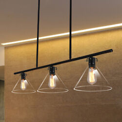 Industrial Clear Glass Pendant Lighting Kitchen Island Chandelier Ceiling Lamp $95.99