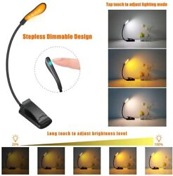 Amber LED USB Rechargeable Book Light for Reading in Bed Clip On Night Desk Lamp $11.99