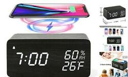 Wooden Digital Alarm Clock with Wireless Charging 3 Alarms LED Display Sound C $45.36