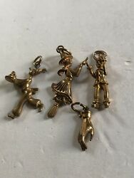 4 Lot Of Vintage Gold Tone Pendants/Charms $12.88