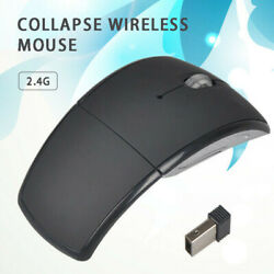 Foldable Arc Wireless Optical Mouse Folding Mice + USB Receiver Accessories $4.93