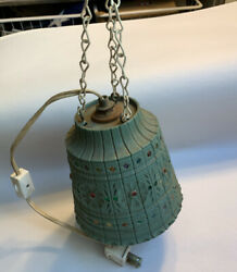 Vtg Small 5quot; Hanging Lamp Beaded Swag Light Retro RV Camper Patio Lawnware? #6F $24.99