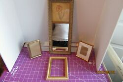 LOT OF 4 GOLD TONE PICTURE FRAMES AND MIRROR $35.00