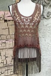 Gimmicks By BKE Buckle Womens Tank Top Layering Swim Cover Lace Fringe Small $24.99