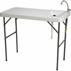 Portable Foldable Fish Cleaning Cutting Outdoor Camping Table with Sink Faucet $87.99