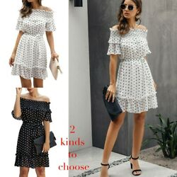 Polka Dot Sexy Off the Shoulde Strap Summer Short Sleeve Women Fit  $22.99