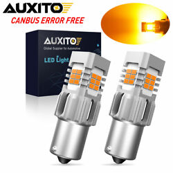 2x AUXITO 1156 BA15S LED Amber Turn Signal Light Bulbs No Hyper Flash CANBUS 50W $17.99