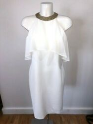 Frank Lyman White Summer Dress with Chiffon Ruffle and Gold Neck New with Tags $72.02