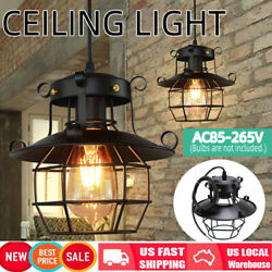 Industrial Vintage Metal Cage Fixture Ceiling Pendant Light Hanging Lamp Shades $17.69