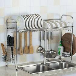 Over Sink Dish Drying Rack Drainer Stainless Steel Kitchen Cutlery Holder Shelf $38.99