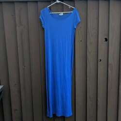 Women#x27;s Summer Maxi Dress Short Sleeve Swim Cover Up Solid Royal Blue S M $9.99