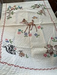 """Vintage 1970's Disney BAMBI Needle Craft Quilt 55""""x34"""" Baby Bed Wall Hang Rare $46.00"""