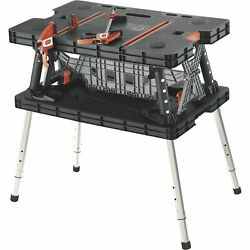 Keter Folding Work Table Workbench Sawhorse Portable w Clamps 700 Lb. Capacity $109.99
