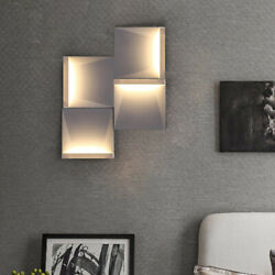 Contemporary Metal Square Wall Sconce Bedroom Wall Light Fixture Art Decor Lamp $69.99