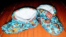Vintage 1970s baby shoes zoo print Childs hard sole Slippers Toddler Size 5 $4.99